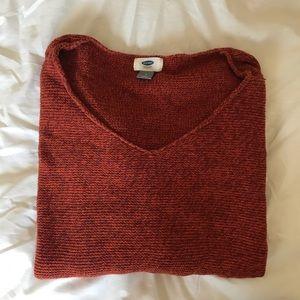 V-neck Orange Knit Old Navy Sweater